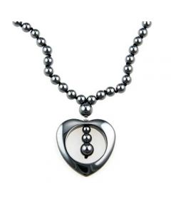 "20"" Hematite Necklace w/Heart (3pcs)"