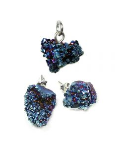 Saharan Cobalt Aura Druzy Pendant And Earring Set (1pc) Sterling Silver NETT
