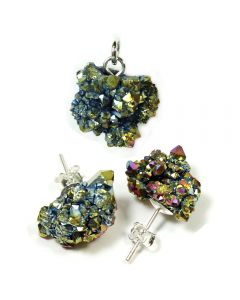 Saharan Titanium Aura Druzy Pendant And Earring Set (1pc) Sterling Silver NETT