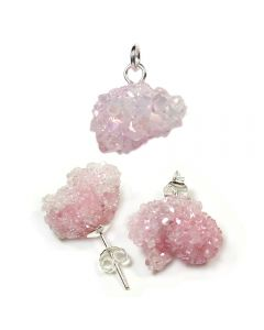 Saharan Candy Aura Druzy Pendant And Earring Set (1pc) Sterling Silver NETT