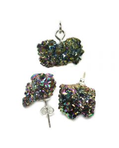 Saharan Rainbow Titanium Aura Druzy Pendant And Earring Set (1pc) Sterling Silver NETT