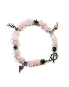 Rose Quartz Chip Bracelet with Leaf Charm & Toggle Fastener (1pc) NETT