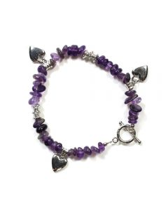 Amethyst Chip Bracelet with Heart Charm & Toggle Fastener (1pc) NETT