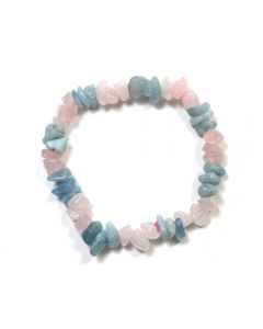 Aquamarine & Rose Quartz Chip Bracelet (Elastic Cord) (1pc) NETT