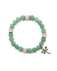 Aventurine/Rose Quartz 8mm Bead + Charm Elastic Bracelet NETT