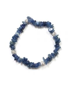 Kyanite Chip & Rhinestone Ball Bracelet (Elastic Cord) (1pc) NETT