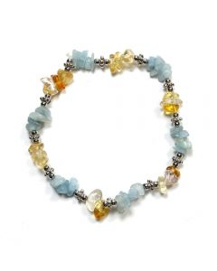 Aquamarine/Citrine Chip and Spacer Bead Elastic Bracelet (1 Piece) NETT