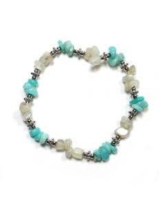 Amazonite & Moonstone Chip Bracelet with Spacer Bead (Elastic Cord) (1pc) NETT