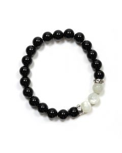 Black Agate/Moonstone CZ Spacer 8mm Elastic Bead Bracelet