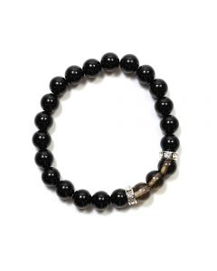 Black Agate/Smoky Quartz CZ Spacer 8mm Elastic Bead Bracelet