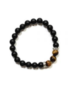 8mm Black Agate & Tiger Eye Bead Bracelet with Cubic Zirconia Spacer (Elastic Cord) (1pc) NETT