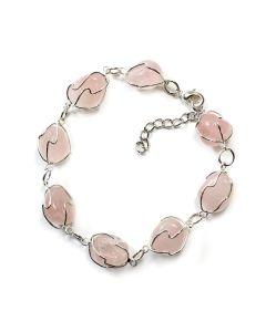 Rose Quartz Cage Bracelet, Silver Plated (1pc) NETT