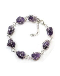 Amethyst Cage Bracelet, Silver Plated (1pc) NETT