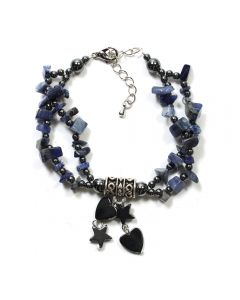 Hematite Sodalite Charm Bracelet (3pc) (WAS £4.5 NOW £2.25)NETT