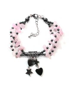 Hematite  Rose Qtz Charm bracelet (3pc) (WAS £4.5 NOW £2.25)NETT