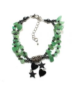 Hematite Green Avent Charm Bracelet (3pc) (WAS £4.5 NOW £2.25)NETT