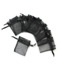 Organza Drawstring Bag Black 7x9cm (20 Piece)