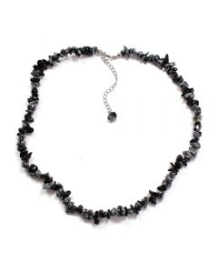 """18"""" Snowflake Obsidian Chip Necklace & Ext Chain (1pc) NETT"""