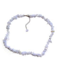 "18"" Blue Lace Agate Chip Necklace & Ext Chain (1pc) NETT"