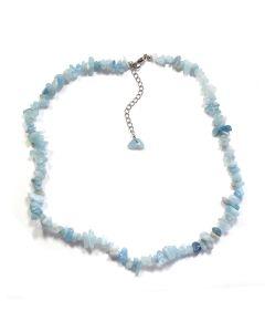 "18"" Aquamarine Chip Necklace & Ext Chain, A&B Grade (1pc) NETT"