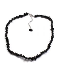 """18"""" Black Obsidian Chip Necklace & Ext Chain (1pc) NETT"""