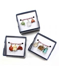 Gift Boxed Gemstone Animal Charm Bracelets (Elastic Cord) (3pcs) NETT