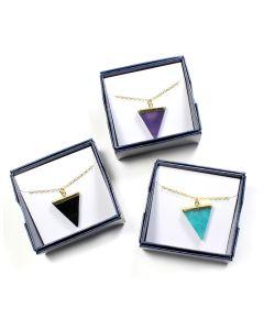 "Gift Boxed Gemstone Triangle Pendants on 18"" Chain (3pcs) NETT"