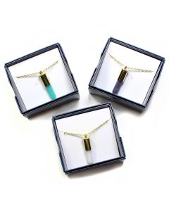 "Gift Boxed Gemstone Bullet Pendants on 18"" Chain (3pcs) NETT"