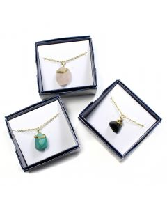 "Boxed Wire Wrapped Crystal Pendants 18"" Necklace (3pcs) NETT"