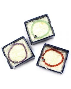 Gift Boxed 6mm Bead Bracelets with Metal Skull Bead (3pcs) (Was £3 Now £1.50) NETT