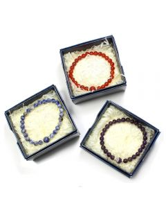 Gift Boxed 6mm Bead Bracelets with 8mm Feature Bead (3pcs) NETT