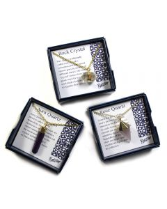 """Boxed Assorted Gemstone Point Pendant 18"""" Necklace (3 Pieces) NETT"""