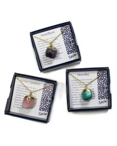 "Gift Boxed Assorted Tumblestone Pendants on 18"" Chain (3pcs) NETT"