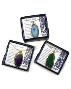 """Boxed Gold plated Edge Agate Slice 18"""" Necklace (3pcs) NETT"""