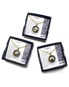 "Gift Boxed Floating Chakra Pendants on 18"" Chain, Gold Plated (3pcs) NETT"