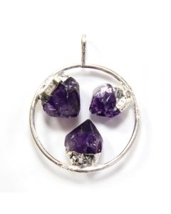 Pendant Ring w/3 fixed Amethyst Points Silver Plated (1pc) NETT