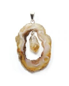 Pendant Geode Slice with Citrine Heat Treated Point Silver Plated (1 Piece) NETT