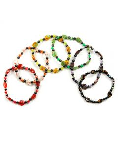 Seed Bead (8x10) Venetian Glass + Hematite Bracelet (6pc)