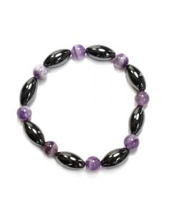 8x16 Magnetic Hematite and Amethyst Bracelet (1pcs)