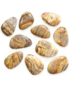 "Picture Jasper Smooth Stone 1-2"" (10pcs) (Was £0.85 Now £0.425) NETT"