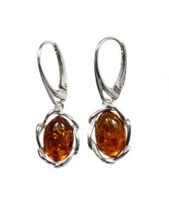 Amber Earhook Oval Fancy Bezel Sterling Silver (1 Pair) NETT