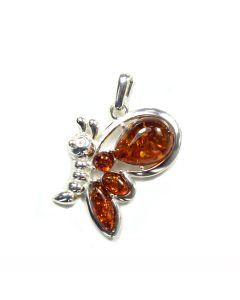 Amber Pendant Butterfly Sterling Silver (1 Piece) NETT