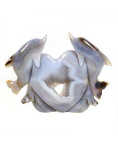 Druzy Agate Double Dolphin Carving (732g 18x14cm) (1 Piece) NETT