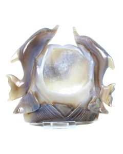 Druzy Agate Double Dolphin Carving (733g 19x17cm) (1 Piece) NETT