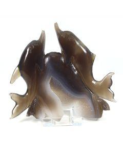 Druzy Agate Double Dolphin Carving (407g 14x13cm) (1 Piece) NETT