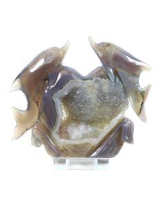 Druzy Agate Double Dolphin Carving (431g 14x12cm) (1 Piece) NETT