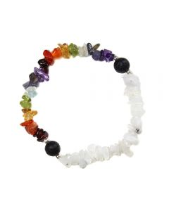 Chakra Chip Bracelet with Moonstone & Lava Beads (1pc) NETT