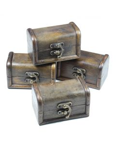 Small Wooden Treasure Chest (4pcs) NETT