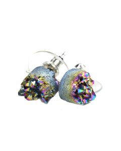 8mm Round Green Rainbow Druzy Earstud Rhod Plate (1 Pair) (Was £4.25 Now £2.125) NETT