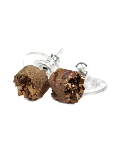8mm Round Brown Druzy Ear Stud Rhodium Plated (1 Pair) (Was £4.25 Now £2.125) NETT